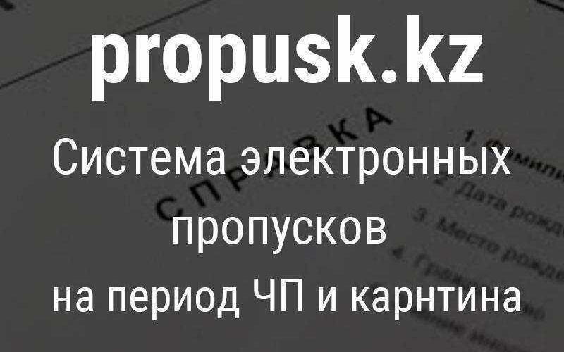 Как получить электронный пропуск на сайте propusk.kz